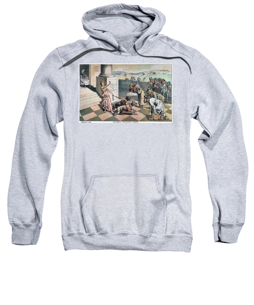 1885 Sweatshirt featuring the painting Cartoon Immigration, 1885 by Granger