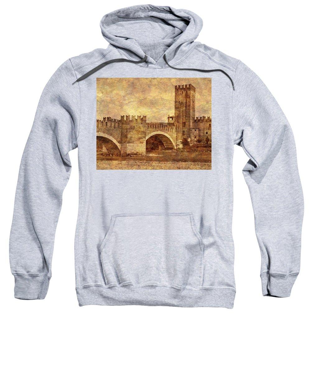 Verona Sweatshirt featuring the photograph Castel Vecchio And Bridge In Verona Italy by Greg Matchick