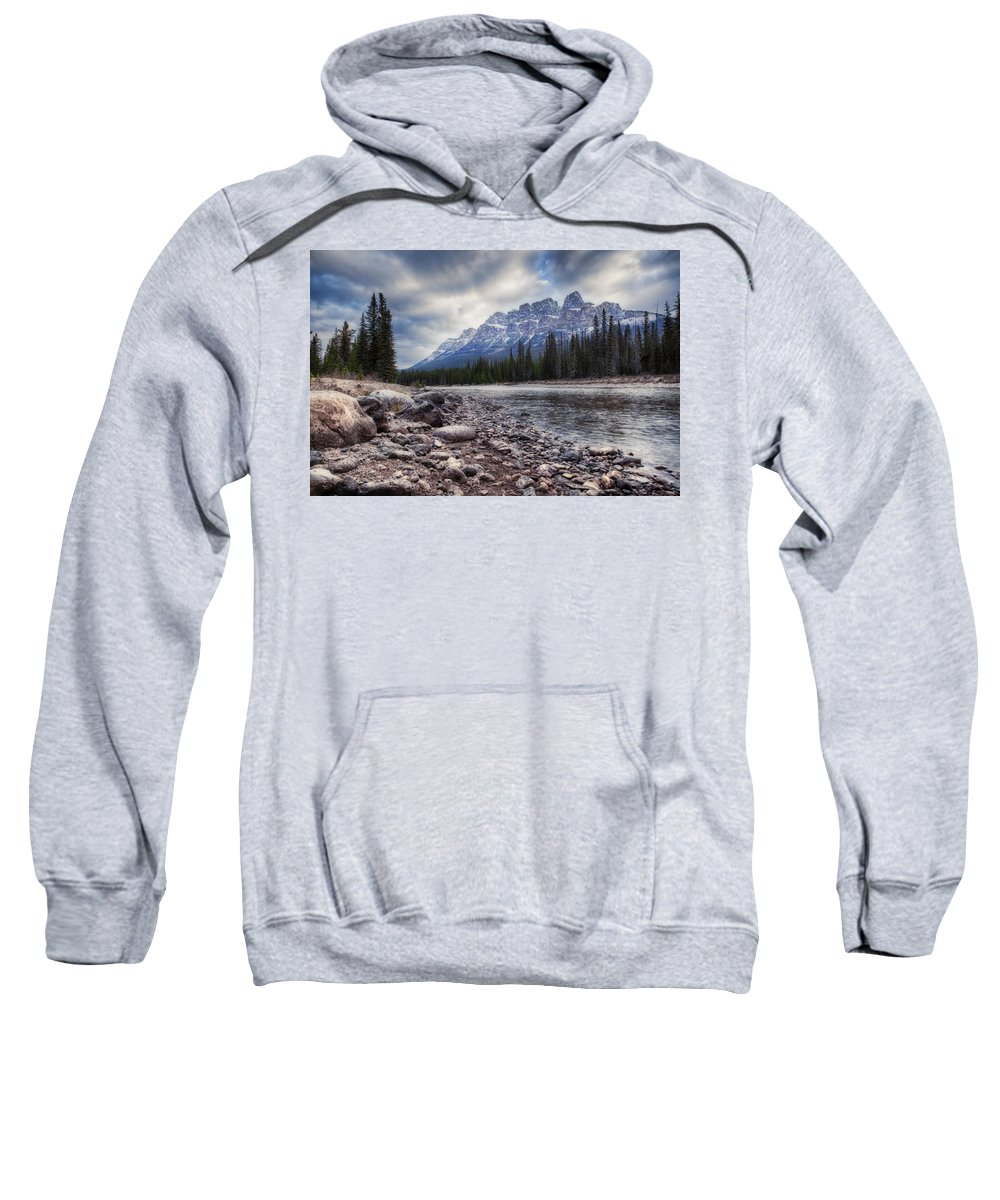 Alberta Sweatshirt featuring the digital art Castle Mountain River View by Diane Dugas