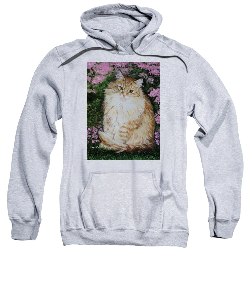 'cat Print Fine Art Sweatshirt featuring the painting Kitten Cat Painting Perfect For Child's Room Art by Diane Jorstad