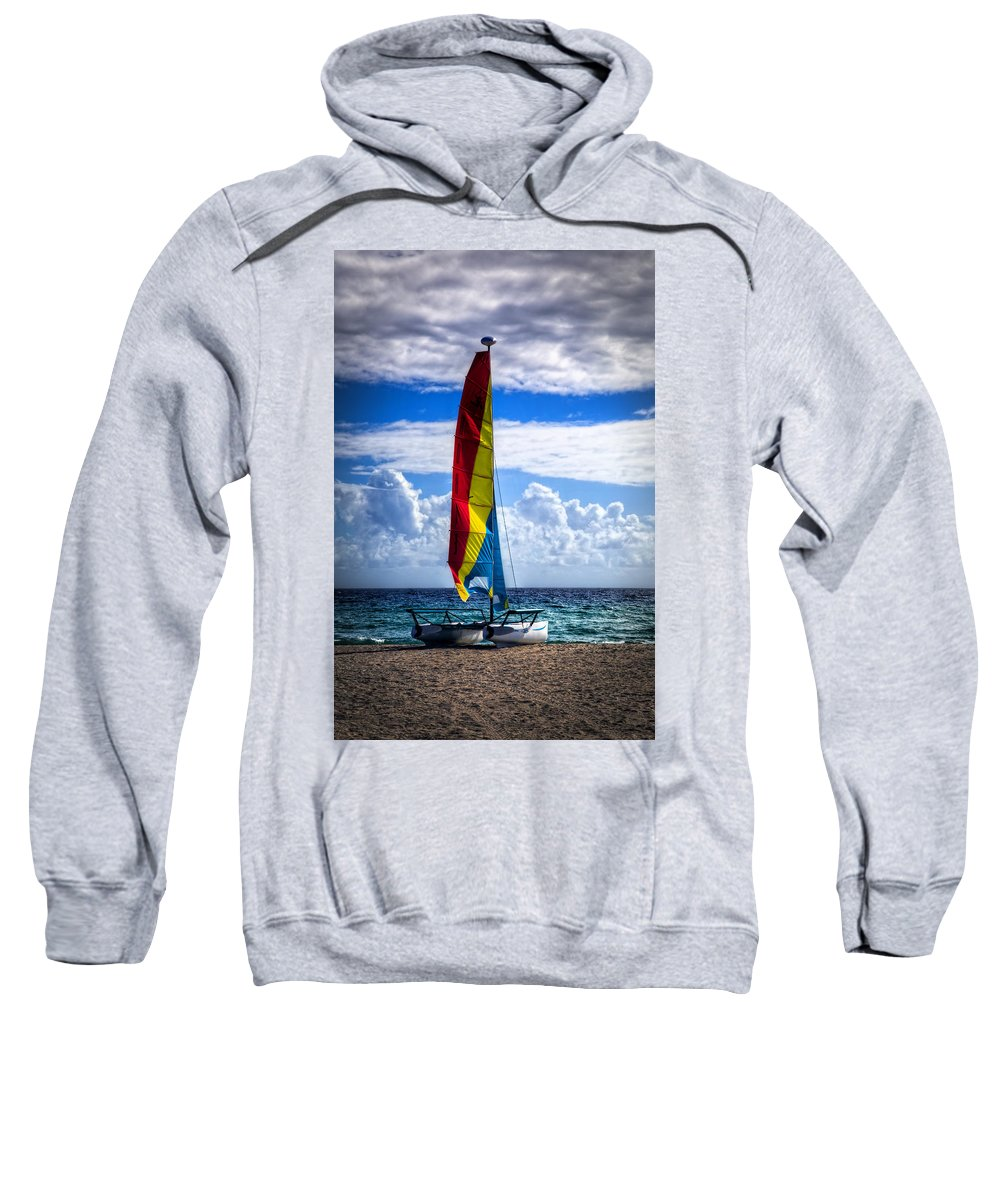 Boats Sweatshirt featuring the photograph Catamaran At The Beach by Debra and Dave Vanderlaan