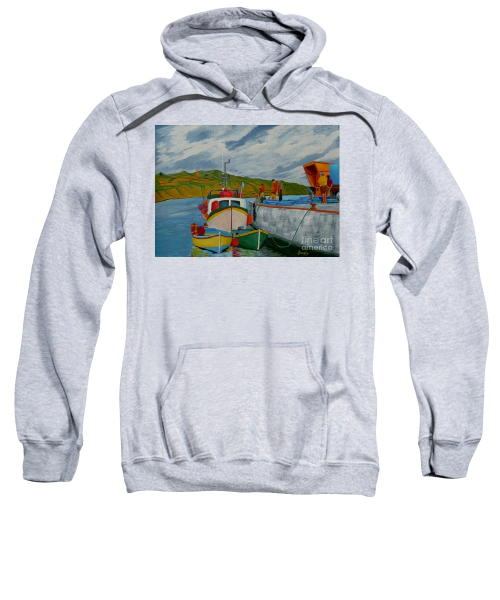 Boats Sweatshirt featuring the painting Catch Of The Day by Anthony Dunphy