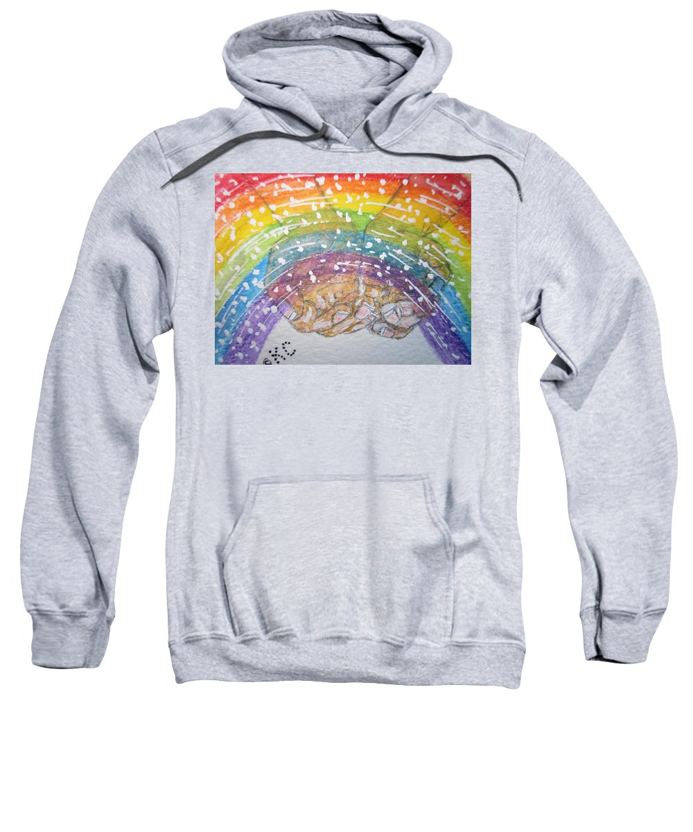 Rainbow Sweatshirt featuring the painting Catching A Rainbbow by Kathy Marrs Chandler