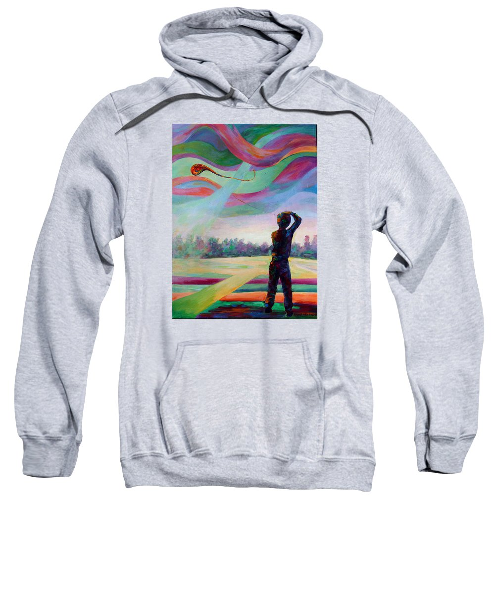 Colorful Sweatshirt featuring the painting Catching the Wind by Naomi Gerrard