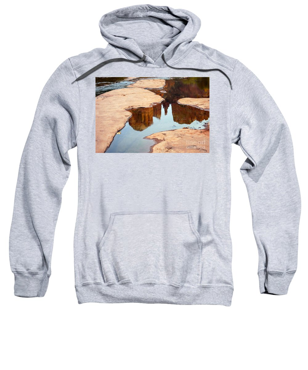 Cathedral Rock Red Rock Crossing Park Sedona Arizona Parks Oak Creek Creeks Stream Streams Water Sandstone Formations Formation Abstract Reflection Reflections Landscape Landscapes Waterscape Waterscapes Sweatshirt featuring the photograph Cathedral Rock by Bob Phillips