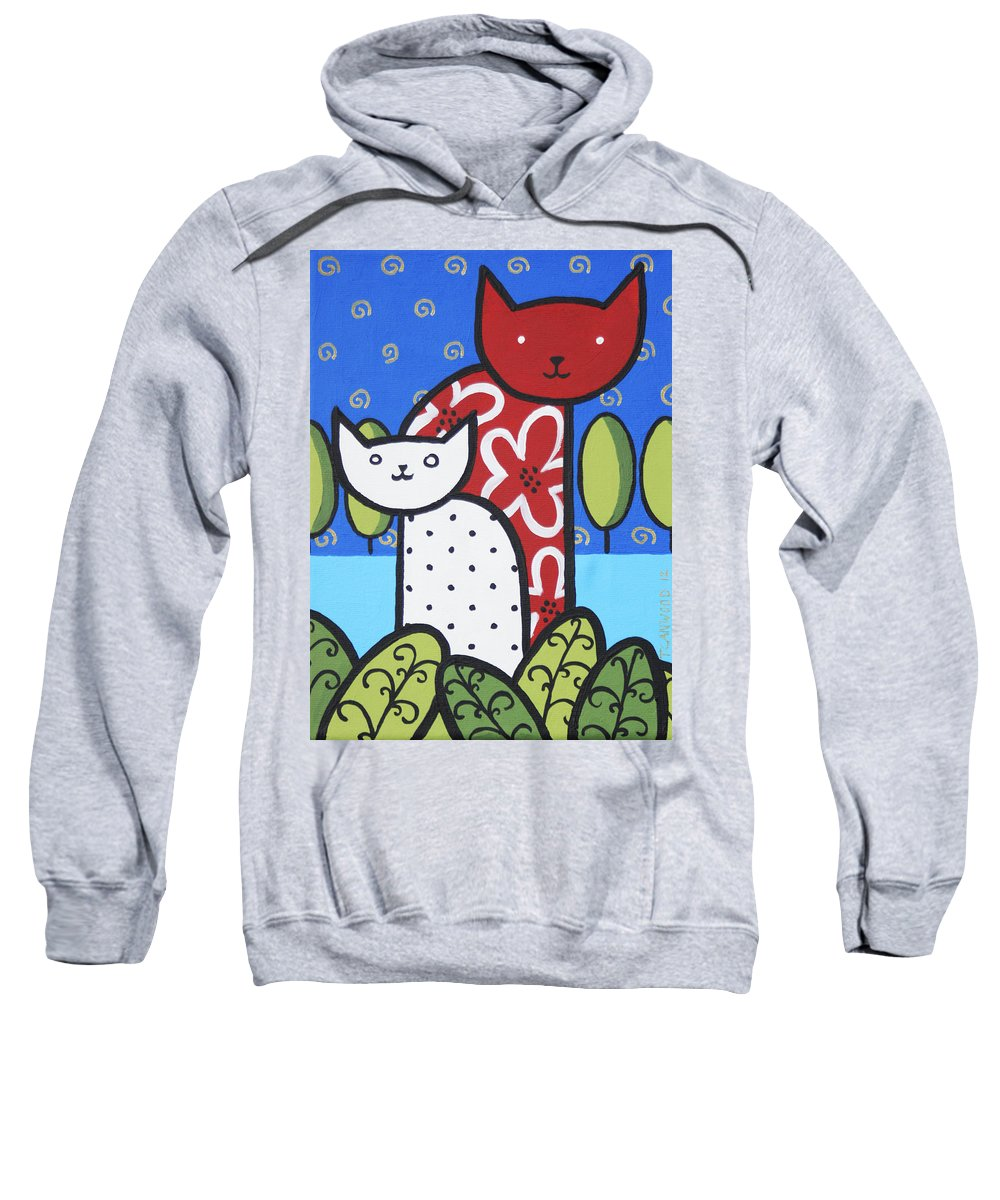 Painting Sweatshirt featuring the painting Cats 1 by Trudie Canwood