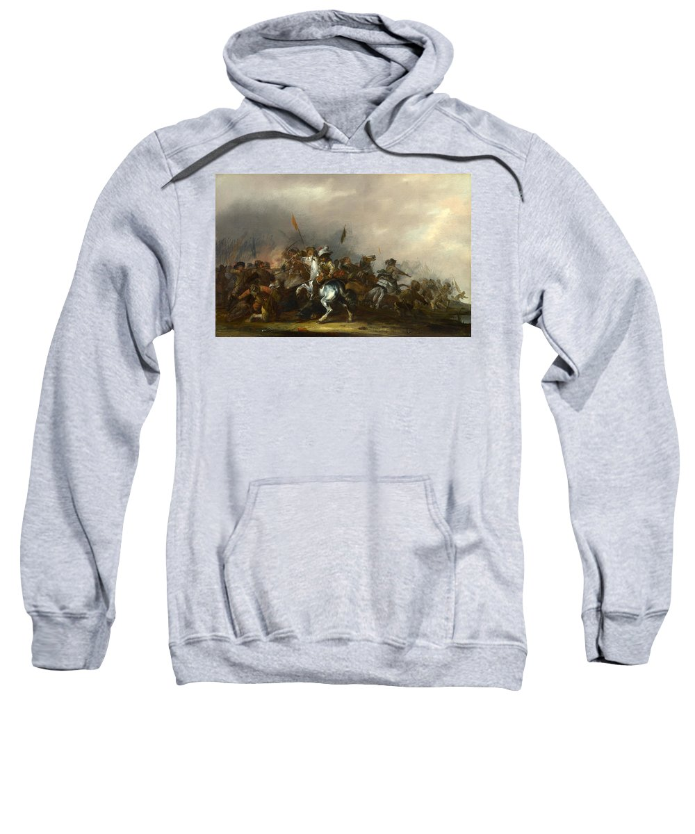 Jacob Weier Sweatshirt featuring the painting Cavalry Attacked By Infantry by Jacob Weier