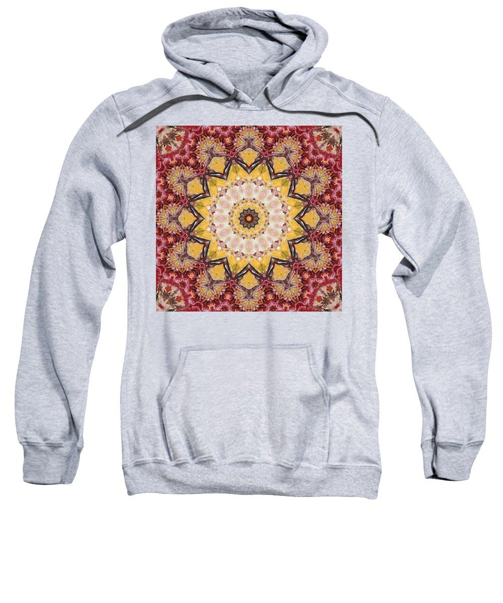 Mandala Sweatshirt featuring the digital art Cecropia Sun 5 by Lisa Lipsett