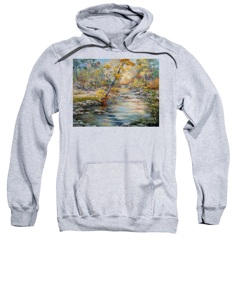Landscape Sweatshirt featuring the painting Cedar Creek Trail by Virginia Potter