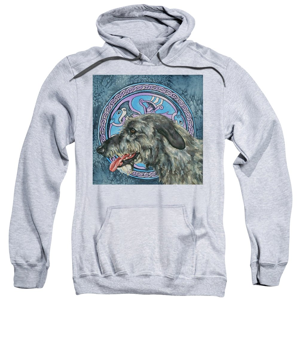 Celtic Sweatshirt featuring the painting Celtic Hound by Beth Clark-McDonal