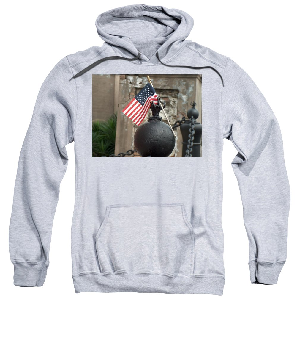 Cemetary Sweatshirt featuring the photograph Cemetary Flag by Richard Booth