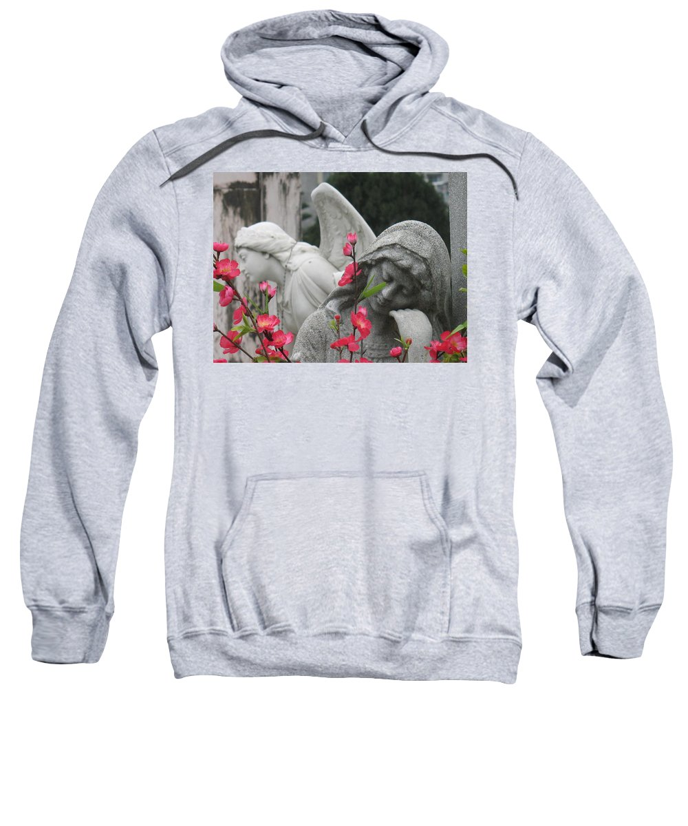 Cemetery Sweatshirt featuring the photograph Cemetery Stone Angels And Flowers by Ian Mcadie
