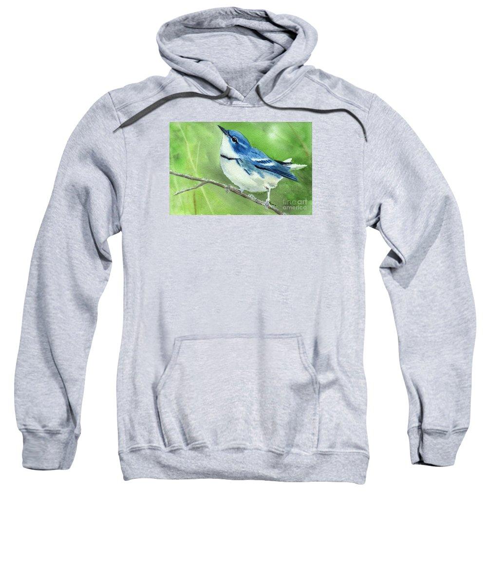 Bird Sweatshirt featuring the painting Cerulean Warbler by Lynn Quinn