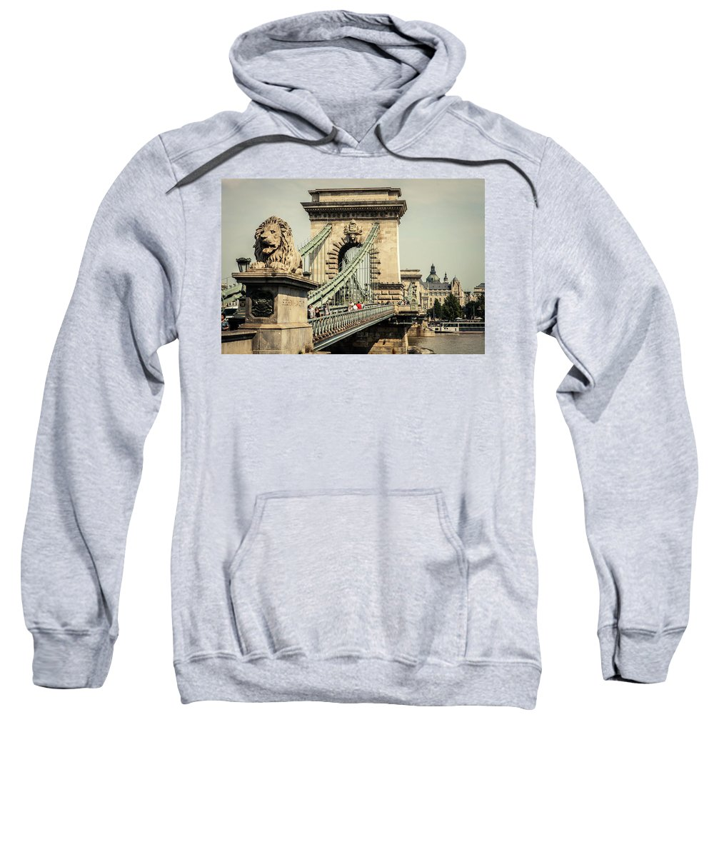 Animal Representation Sweatshirt featuring the photograph Chain Bridge Crossing The Danube River by Tim Martin