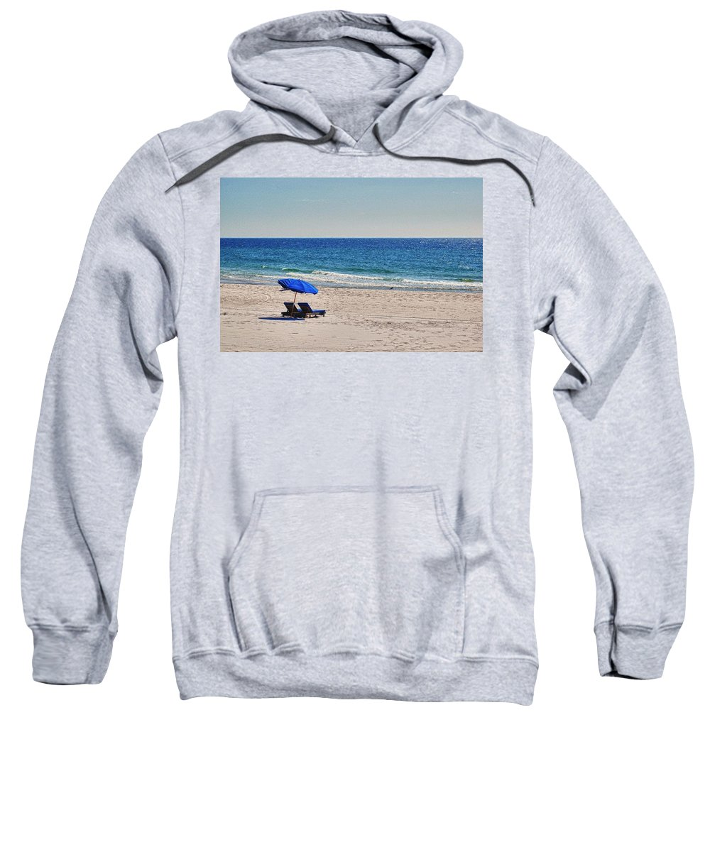 Alabama Sweatshirt featuring the digital art Chairs On The Beach With Umbrella by Michael Thomas