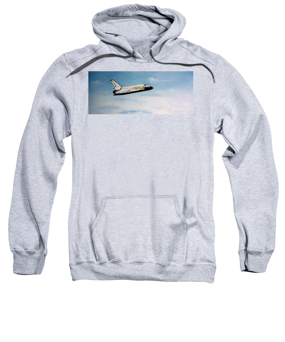 Shuttle Sweatshirt featuring the painting Challenger by Murphy Elliott