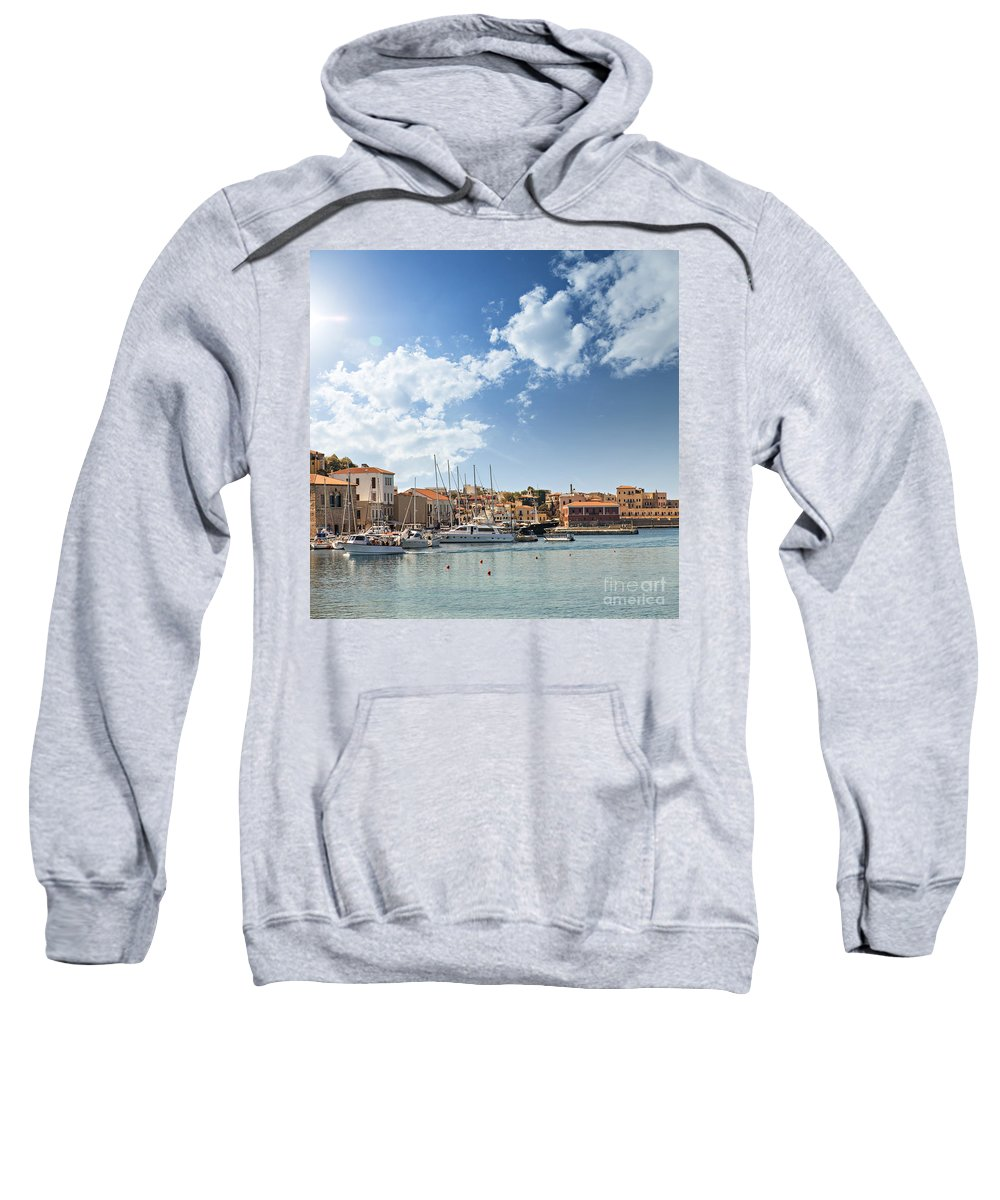Greece Sweatshirt featuring the photograph Chania Town On Crete by Sophie McAulay