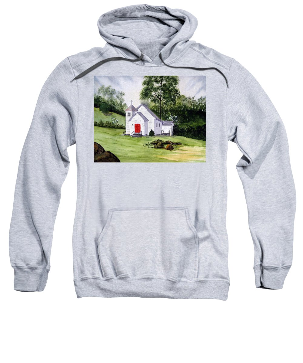 Church Sweatshirt featuring the painting Chapel In The Mounts by Julia RIETZ