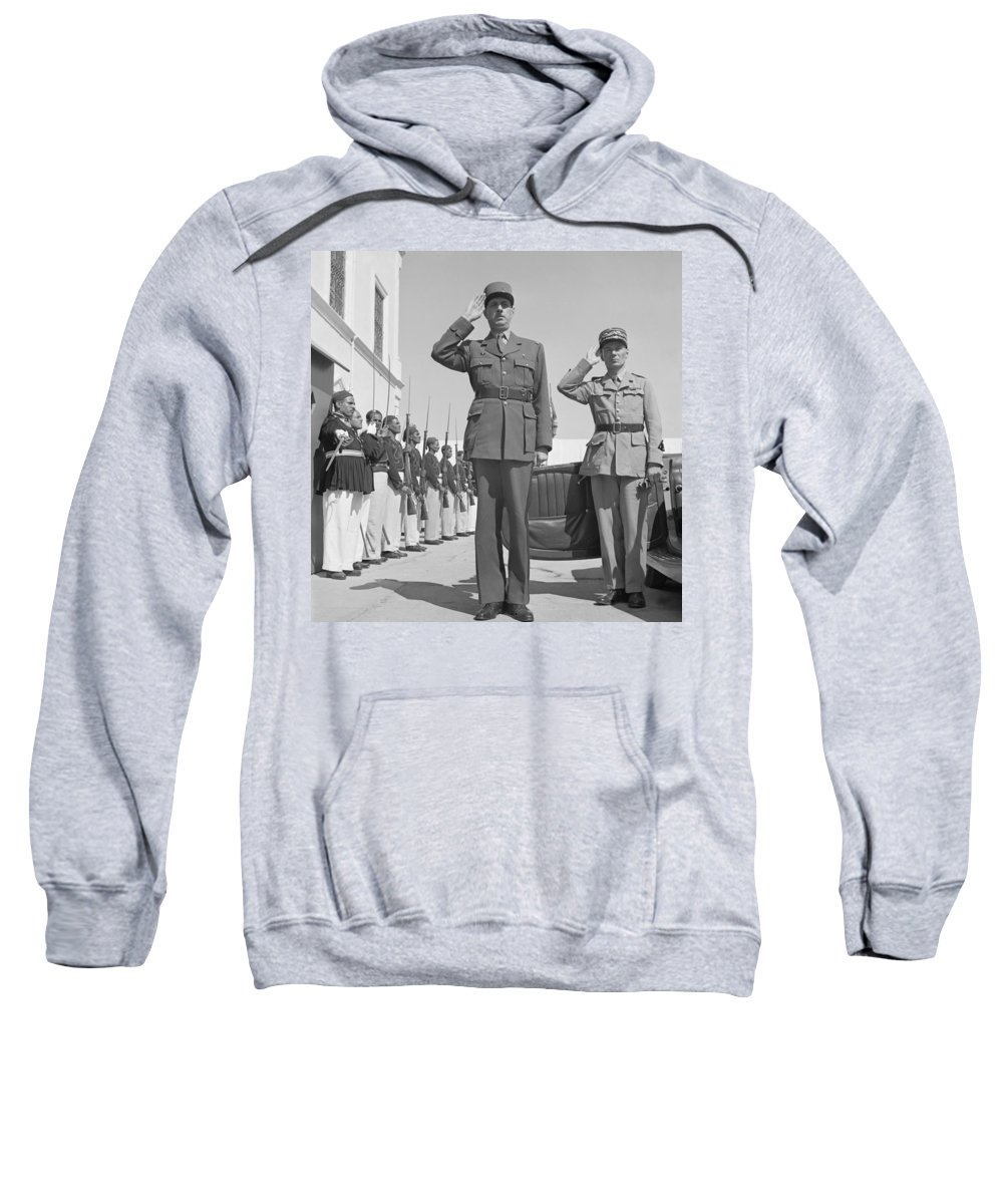 1943 Sweatshirt featuring the photograph Charles De Gaulle In Carthage Tunisia 1943 by Mountain Dreams