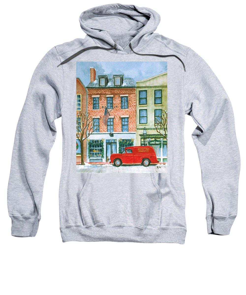 Charles Street Hardware Sweatshirt featuring the painting Charles Street Hardware by Rhonda Leonard