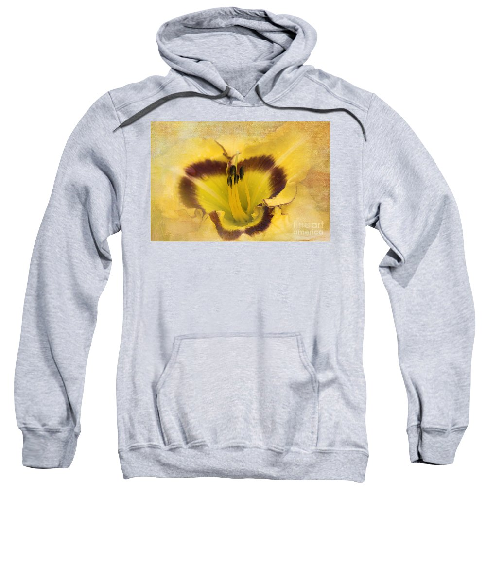 Lily Sweatshirt featuring the photograph Cheerfully Yours by Betty LaRue