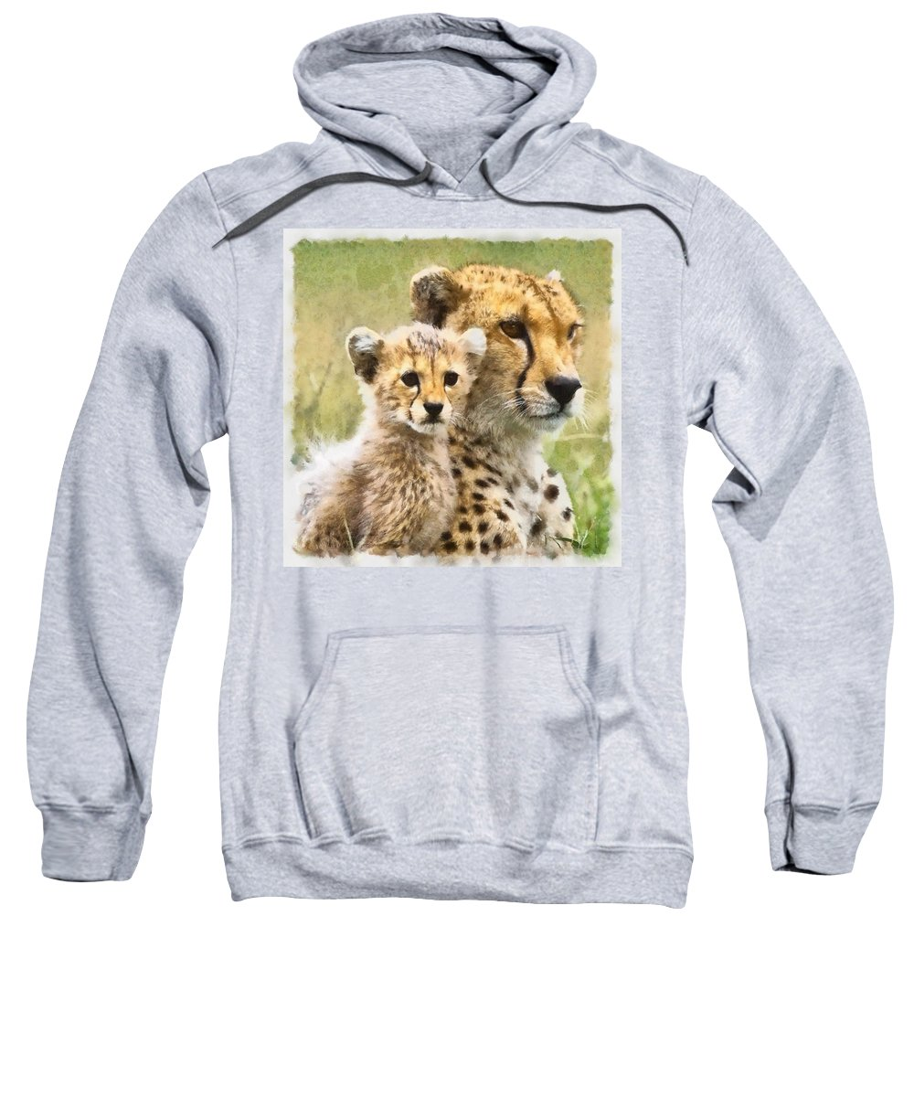 Cat Sweatshirt featuring the photograph Cheetah Two by Ingrid Smith-Johnsen