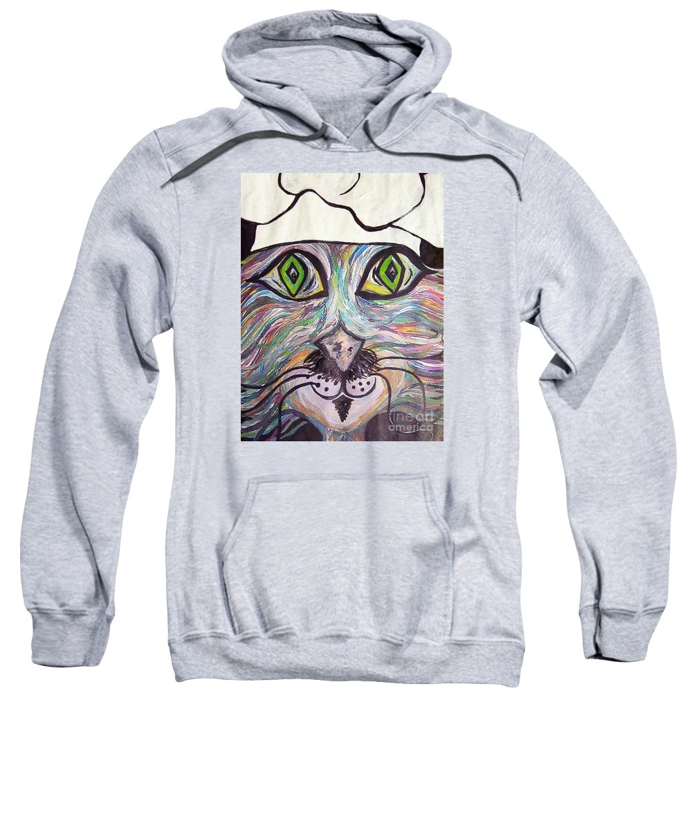Professional Sweatshirt featuring the painting Chef Pierre ... A Cat With Good Taste by Eloise Schneider Mote