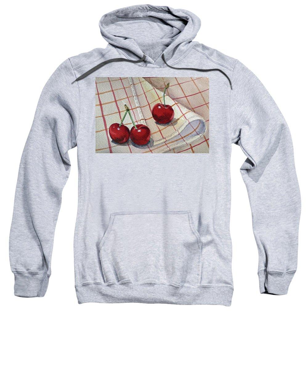 Watercolor Paintings Sweatshirt featuring the painting Cherry Talk By Irina Sztukowski by Irina Sztukowski
