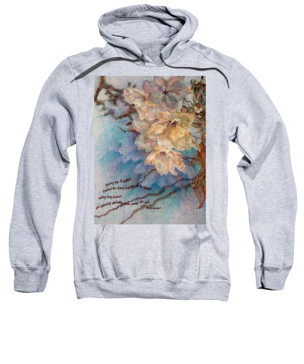 Flower Sweatshirt featuring the painting Cherry Blossoms N Lace by Deborah Younglao
