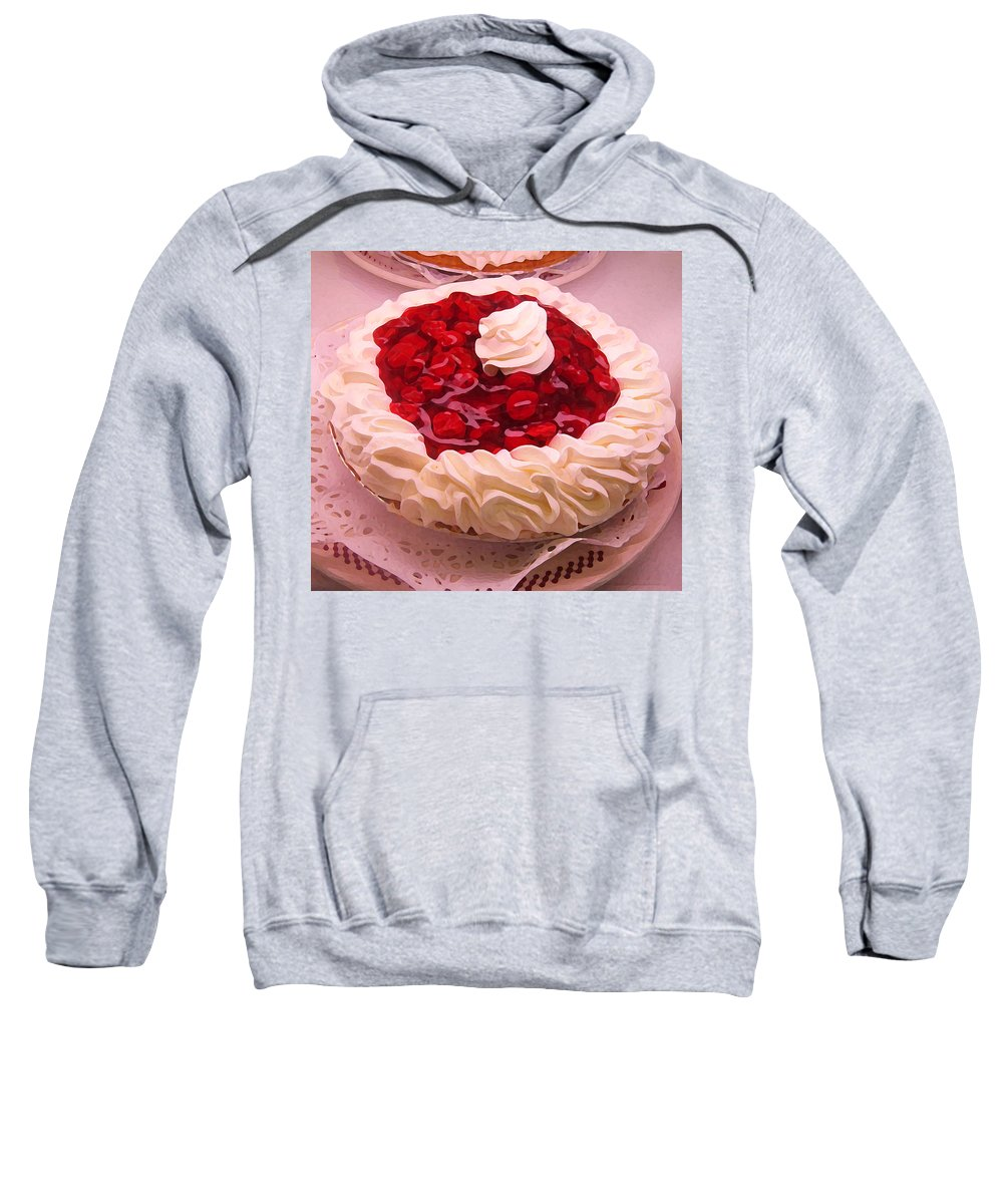 Still Life Sweatshirt featuring the painting Cherry Pie With Whip Cream by Amy Vangsgard
