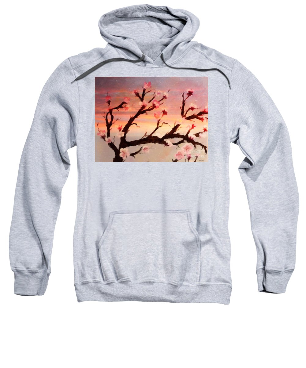 Cherry Tree Expresssive Brushstrokes Sweatshirt featuring the photograph Cherry Tree Expresssive Brushstrokes by Barbara Griffin