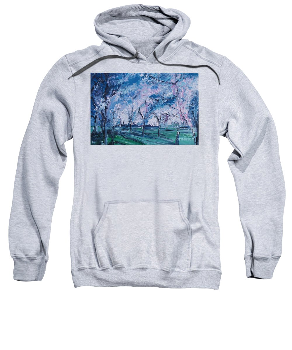 Cherry Trees Sweatshirt featuring the painting Cherry Trees Impressionism by Eric Schiabor