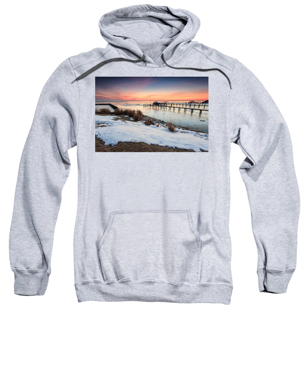 Landscape Sweatshirt featuring the photograph Chesapeake Bay Freeze by Jennifer Casey