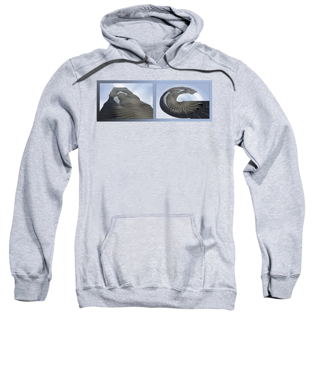 Chicago Sweatshirt featuring the photograph Chicago Abstract Before And After Radisson Blu Hotel 2 Panel by Thomas Woolworth