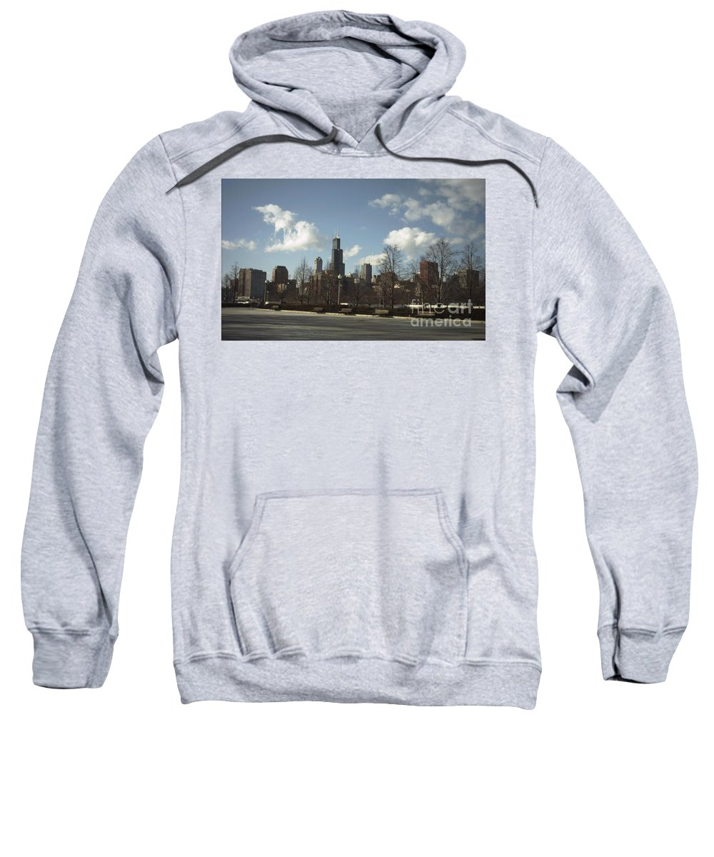 Chicago Skyline Sweatshirt featuring the photograph Chicago Skyline Postcard by Minding My Visions by Adri and Ray