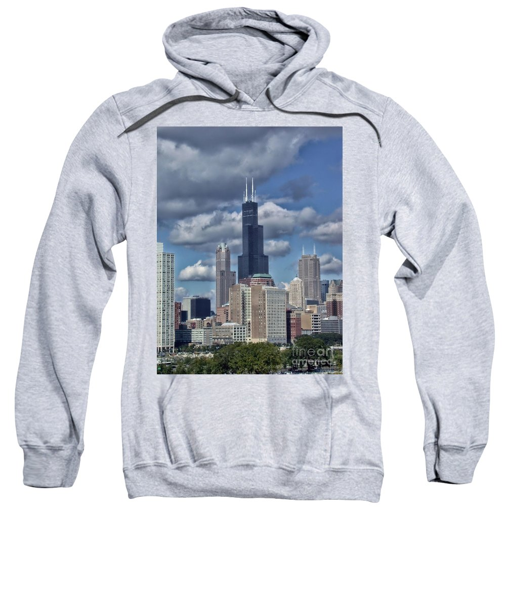 Cities Sweatshirt featuring the photograph Chicago Willis Sears Tower by Thomas Woolworth