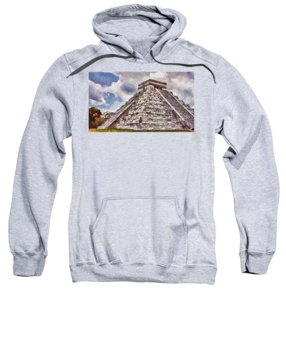 Yucatan Sweatshirt featuring the painting Chichen Itza by Jeffrey Kolker