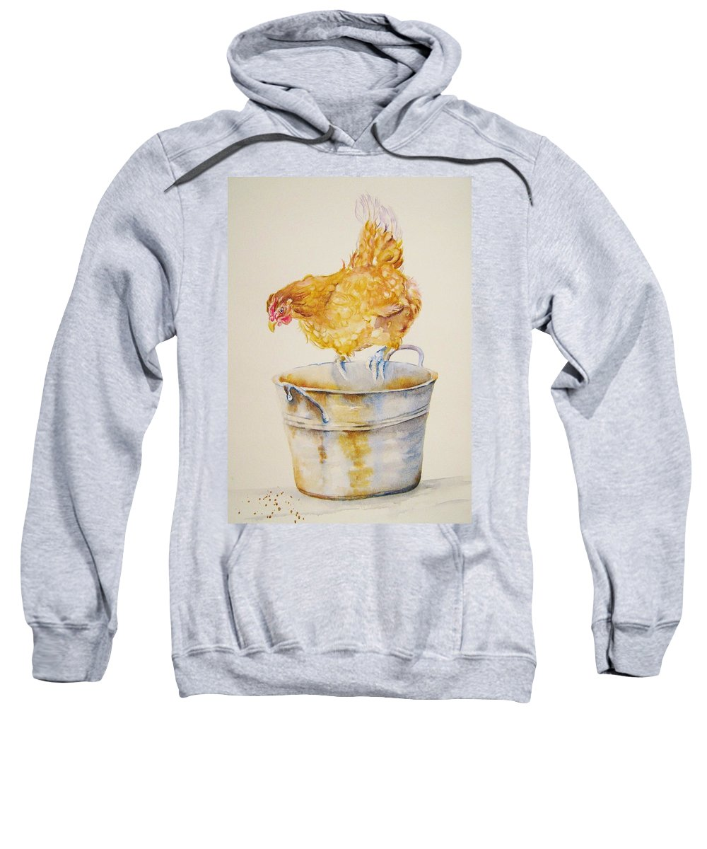 Hen Sweatshirt featuring the painting Chicken Feed by Debra Hall