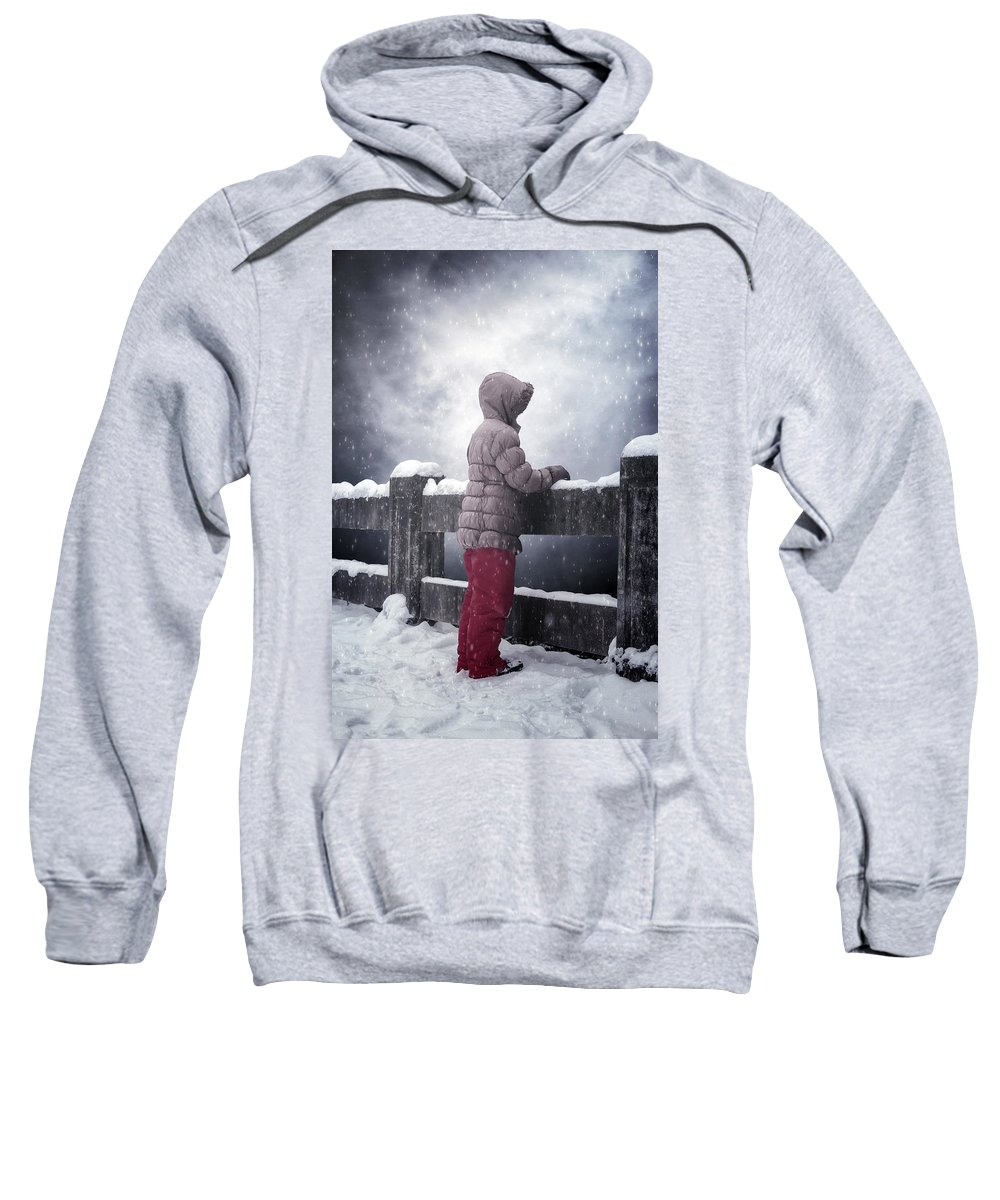 Snow Sweatshirt featuring the photograph Child In Snow by Joana Kruse