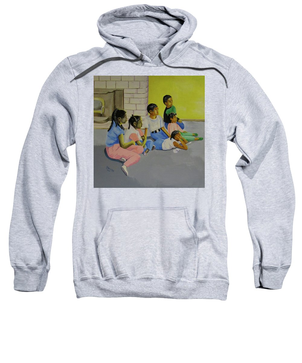 Children Sweatshirt featuring the painting Children's Attention Span by Thomas J Herring