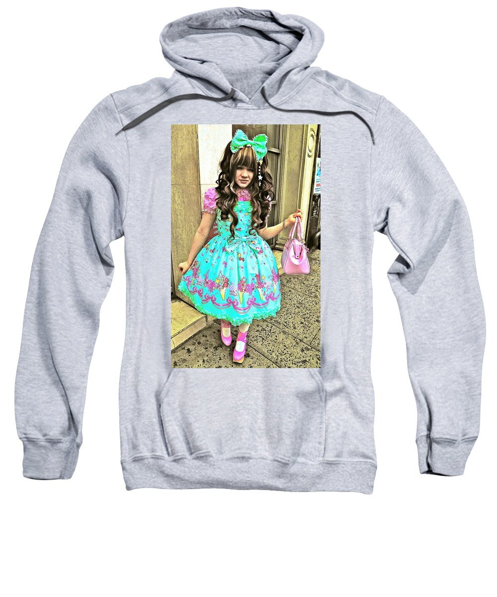 New York Street Art Sweatshirt featuring the photograph China Town Girl 2013 by Joan Reese