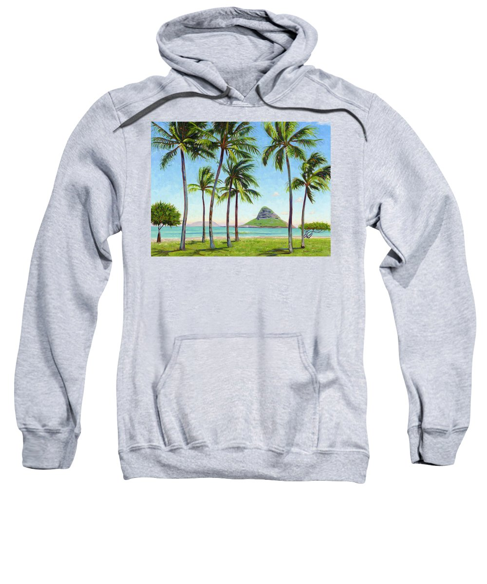 Chinamans Hat Sweatshirt featuring the painting Chinamans Hat - Oahu by Steve Simon