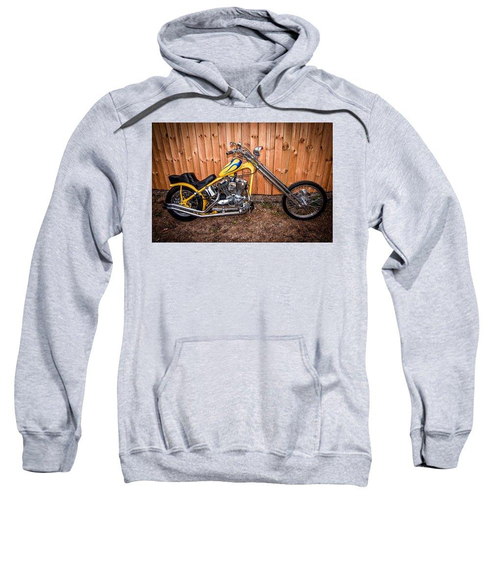 Harley Davidson Sweatshirt featuring the photograph Chopper Custom Built Harley by Randall Branham