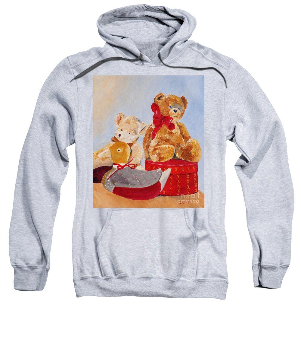 Barbara Moak Sweatshirt featuring the painting Christmas Greeting by Barbara Moak