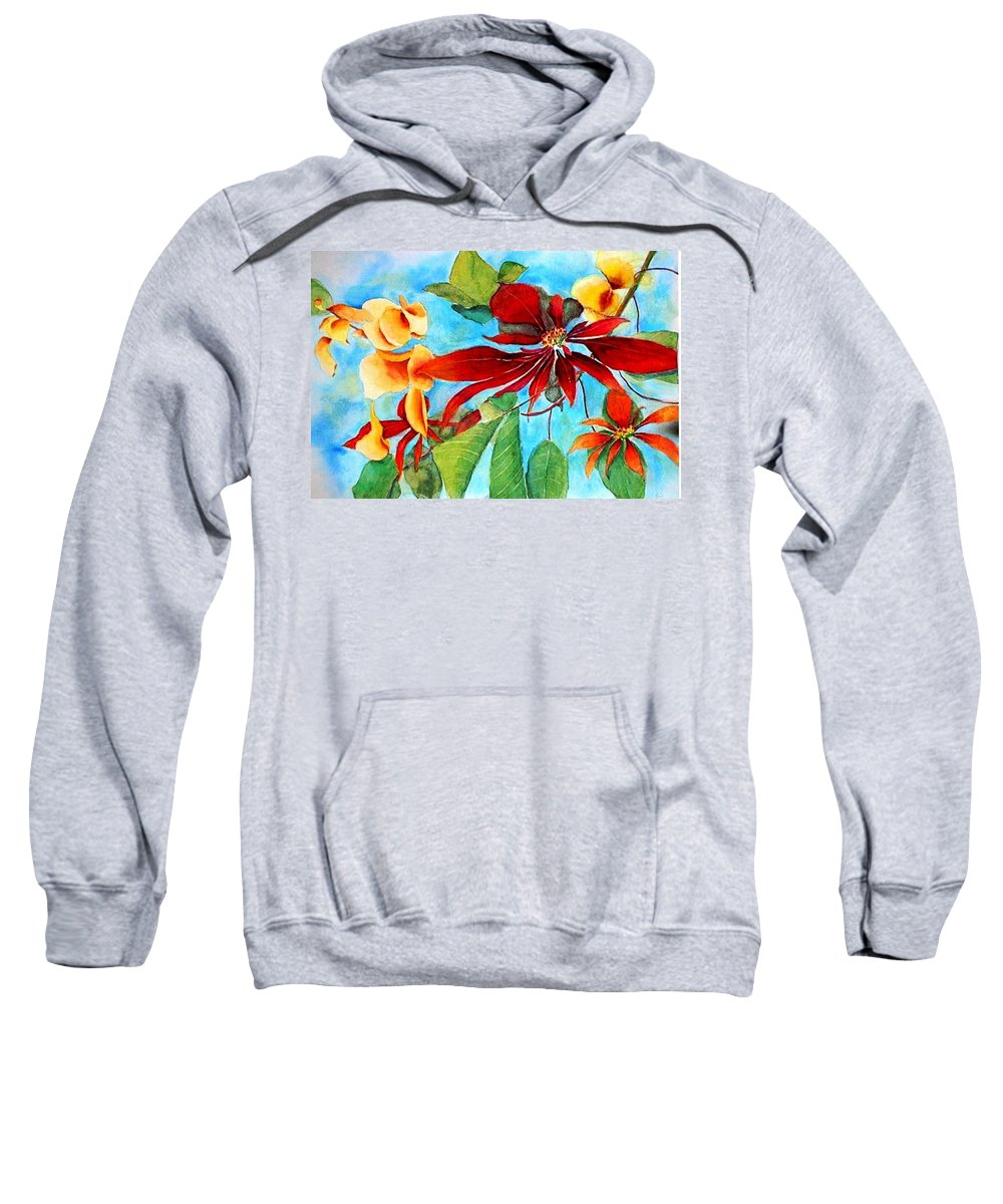 Watercolor Sweatshirt featuring the painting Christmas All Year Long by Debbie Lewis