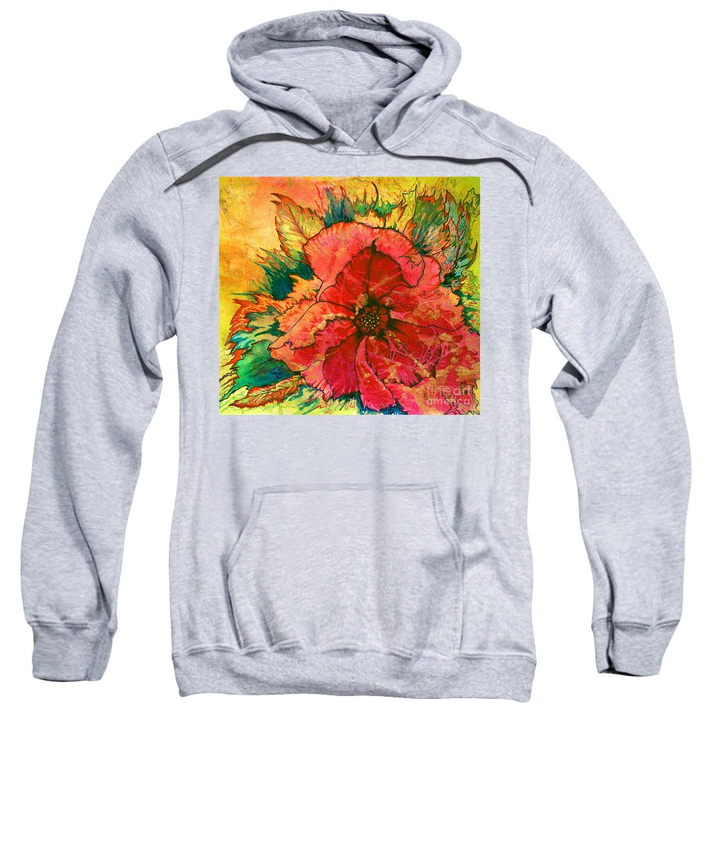 Christmas Sweatshirt featuring the painting Christmas Flower by Nancy Cupp