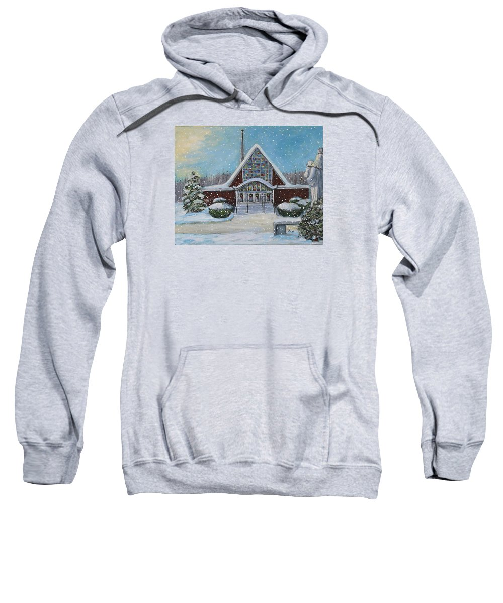 Landscape Sweatshirt featuring the painting Christmas Morning At Our Lady's Church by Rita Brown