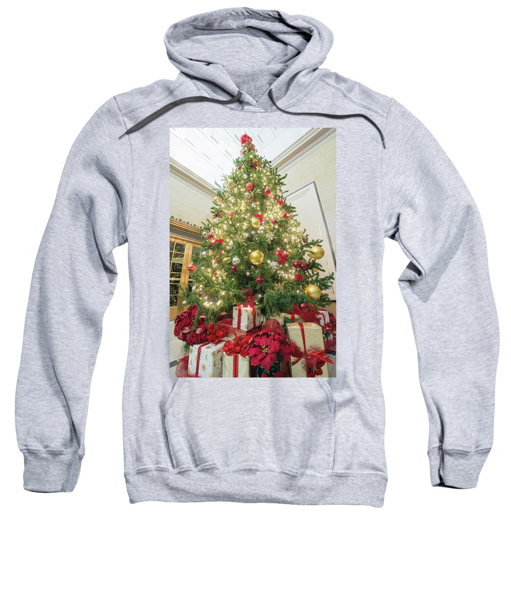 Christmas Sweatshirt featuring the photograph Christmas Tree With Presents Tall Perspective by Jit Lim