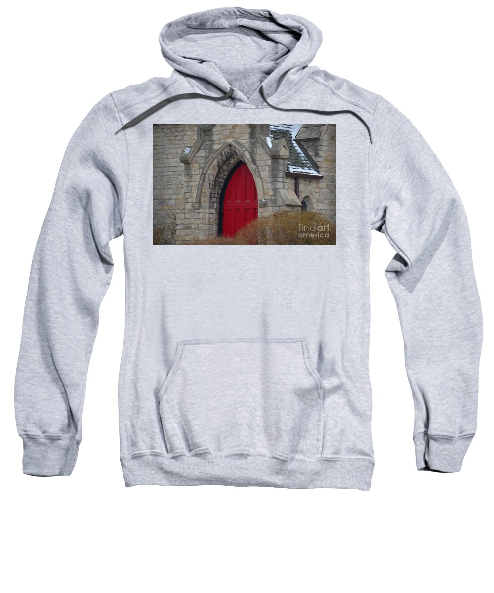 Detroit Sweatshirt featuring the photograph Church And The Red Door by Randy J Heath