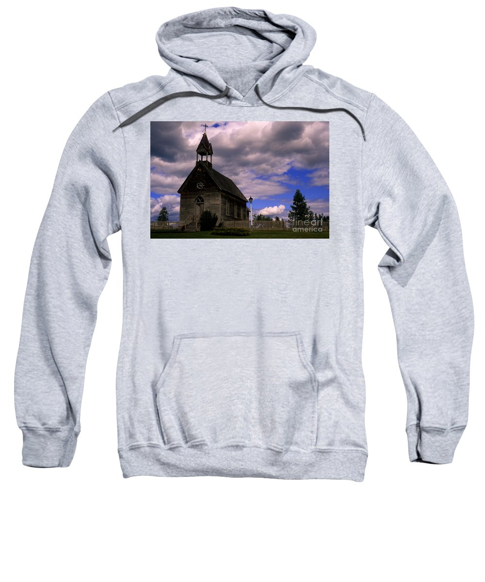 Okeefe Ranch Sweatshirt featuring the photograph Church At The Okeefe Ranch by Bob Christopher